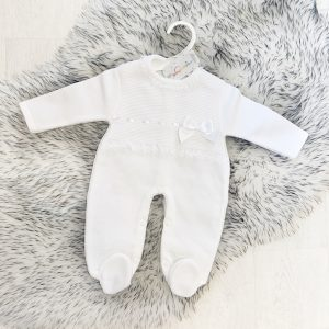 White Knitted Baby Onesie