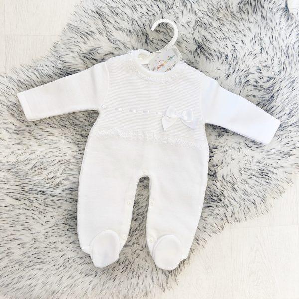 White Knitted Baby Onesie