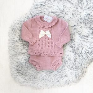 Baby Girls Dusty Pink Knitted Set with Bow