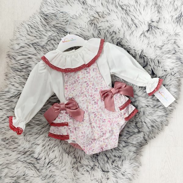 Baby Girls Floral Dungaree Set