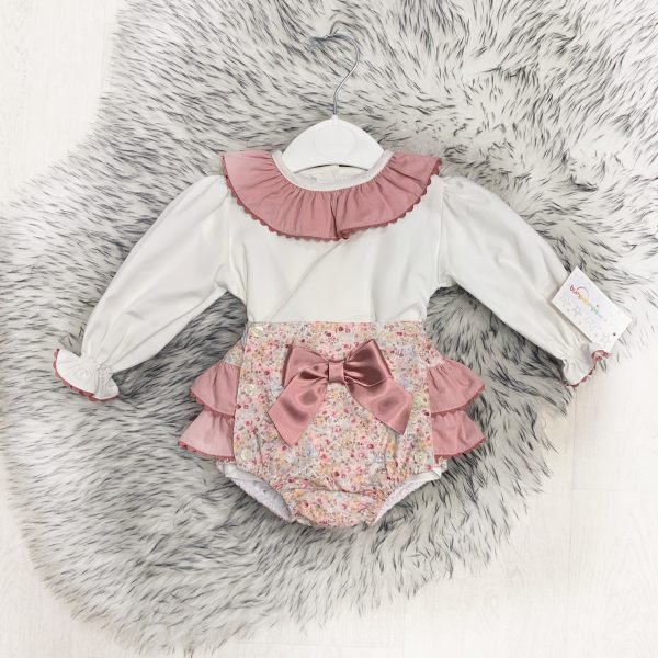 Baby Girls Ivory Blouse & Floral Bottoms