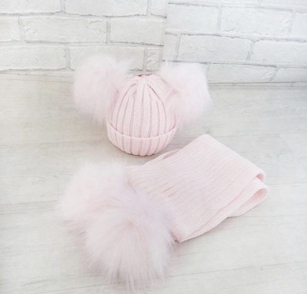 Pink Double Pom Pom Hat & Scarf