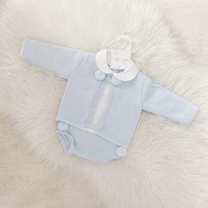 Baby Blue 3 Piece Cardigan, Top & Bottoms Set