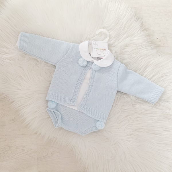 Baby Blue 3 Piece Cardigan, Top & Bottoms Set