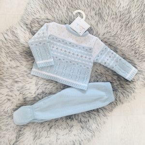 Baby Boys Blue & Grey Knitted Jumper & Trousers