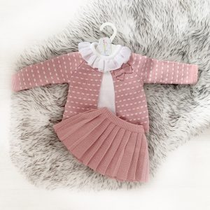 Baby Girls Dark Pink 3 Piece Outfit
