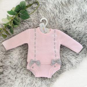 Baby Girls Pink & Grey Jumper & Shorts Set