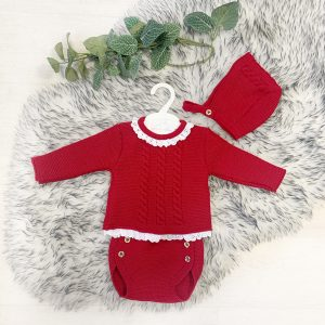 Baby Girls Red Knitted Outfit