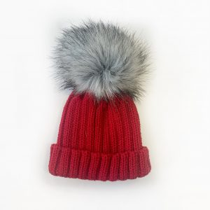 Red Pom Pom Hat with Fur
