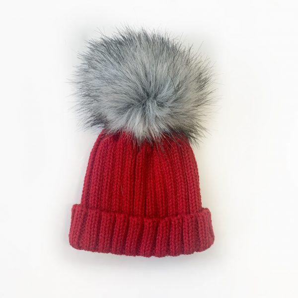 Red Pom Pom Hat with Fur