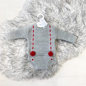 Unisex Grey & Red Pom Pom Outfit