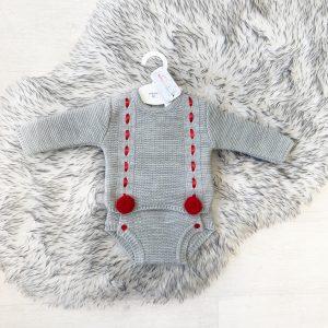 Grey & Red Pom Pom Outfit