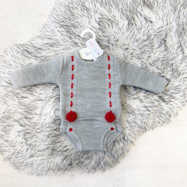 Unisex Grey & Red Pom Pom Outfit