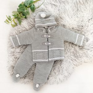 Unisex Grey & White Knitted Set