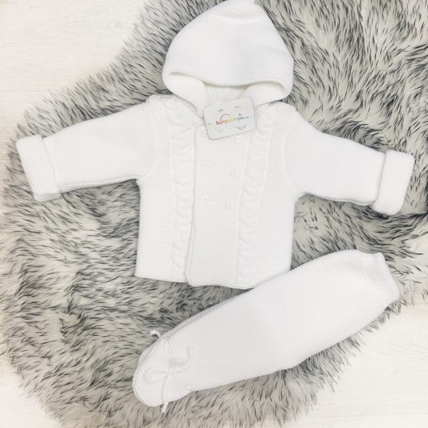 Unisex White Thick Knit Cardigan & Trousers