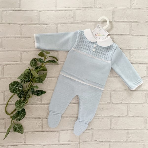 Baby Boys Blue Knitted Outfit with Collar