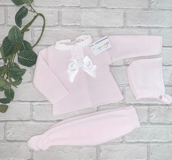 Pale Pink Knitted Baby Set