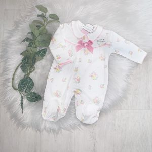 Baby Girls Ivory Floral Babygrow