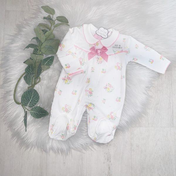 Baby Girls Ivory Floral Babygrow