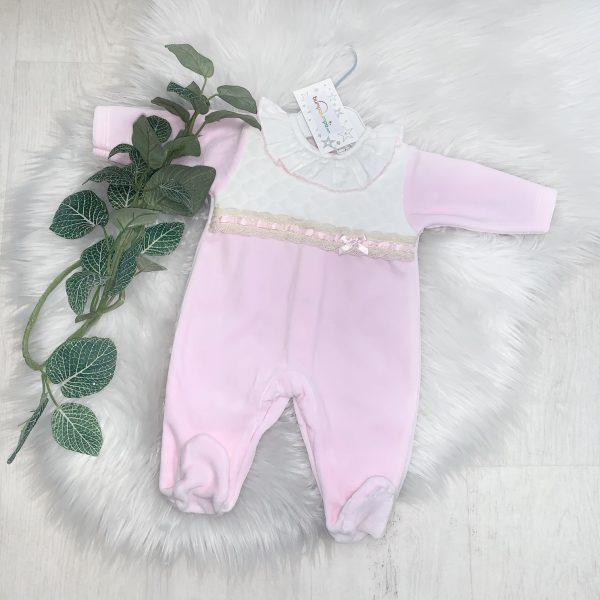 Baby Girls Soft Pink & Ivory Babygrow