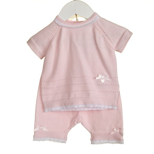 Baby Girls Pink Top & Trousers with Lace Trim