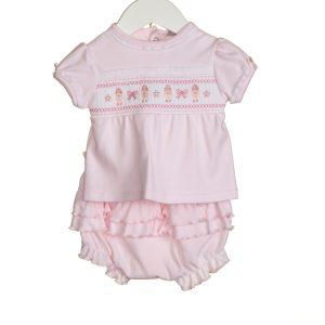 Baby Girls Pink Smocking Top & Shorts Set