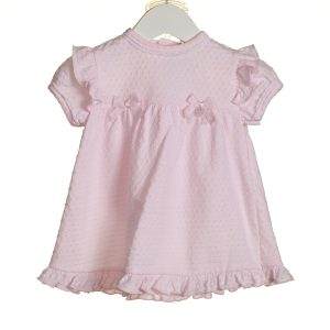 Baby Girls Pink Summer Dress With Lace Bow