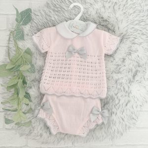 Baby Girls Pink & Grey Top & Shorts Set