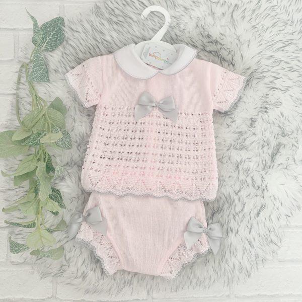 Baby Girls Pink & Grey Top & Shorts Set