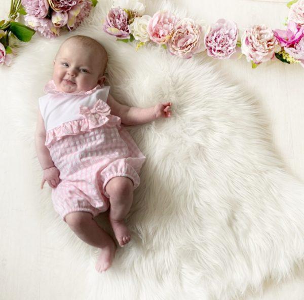 Baby Girls Pink Summer Romper Suit