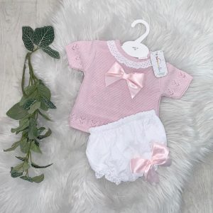 Baby Girls Pink & White Top & Shorts Set