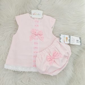 Baby Girls Pink Dress with Floral Bows