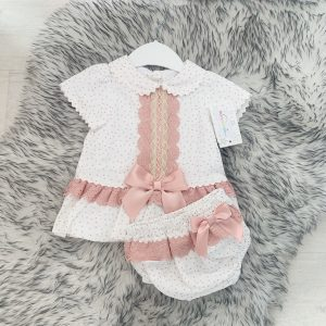 Baby Girls Pink & White Stripe Outfit