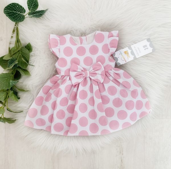 Baby Girls Spotty Dress with Bow