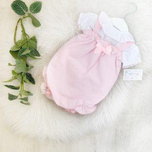 Baby Girls Stripe Dungaree & Blouse Set
