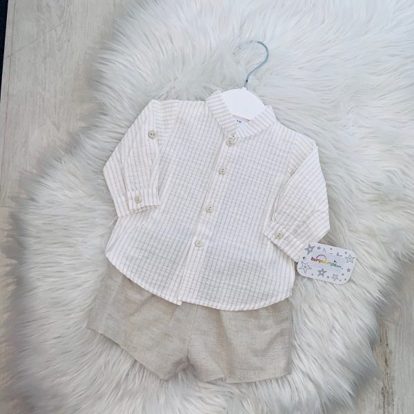 Baby Boys Beige Shirt & Shorts Set