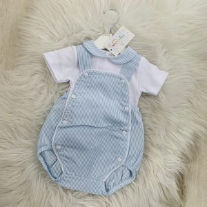 Baby Boys Blue Stripe Dungaree & Top Set