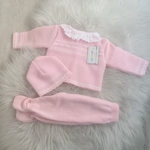 Baby Girls Pink Three Piece Set with Frill