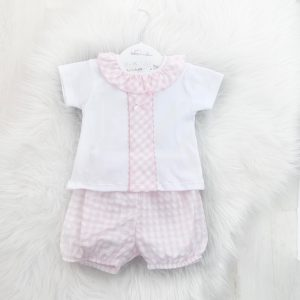 Baby Girls Pink Gingham Shorts Set