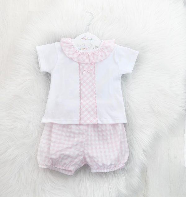 Baby Girls Pink Gingham Shorts Set