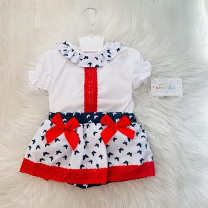Baby Girls Red White & Navy Outfit