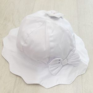 Baby Girls White Sun Hat with Bow