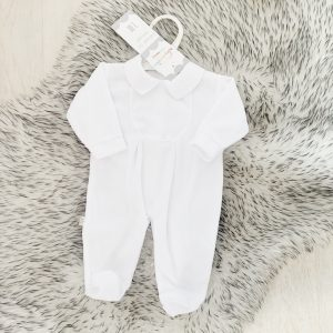 Unisex White Fleece Babygrow