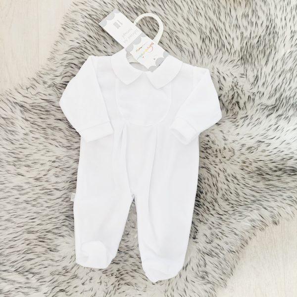 Unisex White Fleece Babygrow