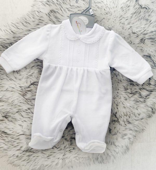 Unisex White Babygrow with Detailing