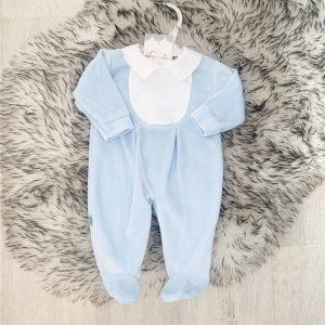 Baby Boys Blue Velour Babygrow with White Collar