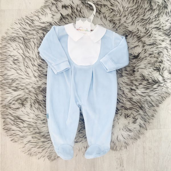 Baby Boys Blue Velour Babygrow with White Collar