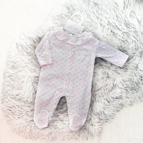 Baby Girls Pink Crown Babygrow