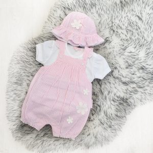 Baby Girls Pink Stripe Dungaree & Hat