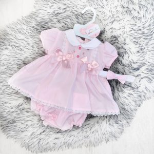 Baby Girls Dress with Headband & Bloomers